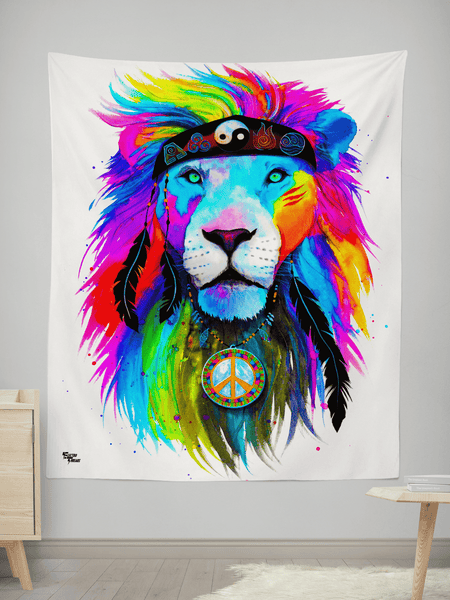 "Hippie Lion Wall Tapestry Tapestry Electro Threads SMALL: 32"" x 42"""