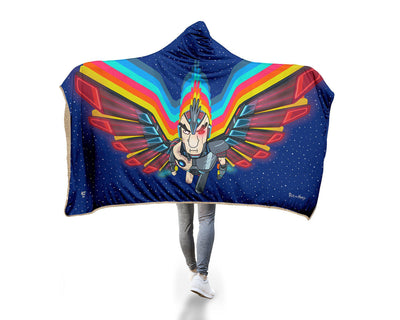 "Hyperlight Phoenix Person Hooded Blanket Hooded Blanket Electro Threads MICRO FLEECE Adult 60""X80"" Blue"
