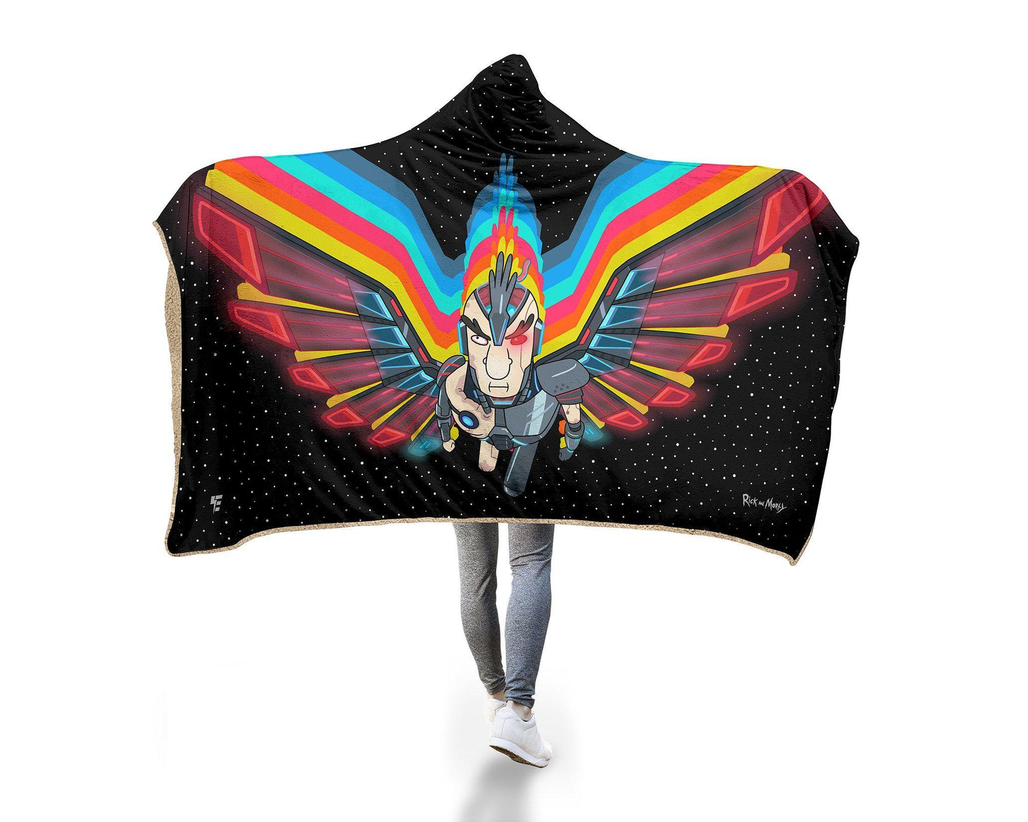 "Hyperlight Phoenix Person Hooded Blanket Hooded Blanket Electro Threads MICRO FLEECE Adult 60""X80"" Black"
