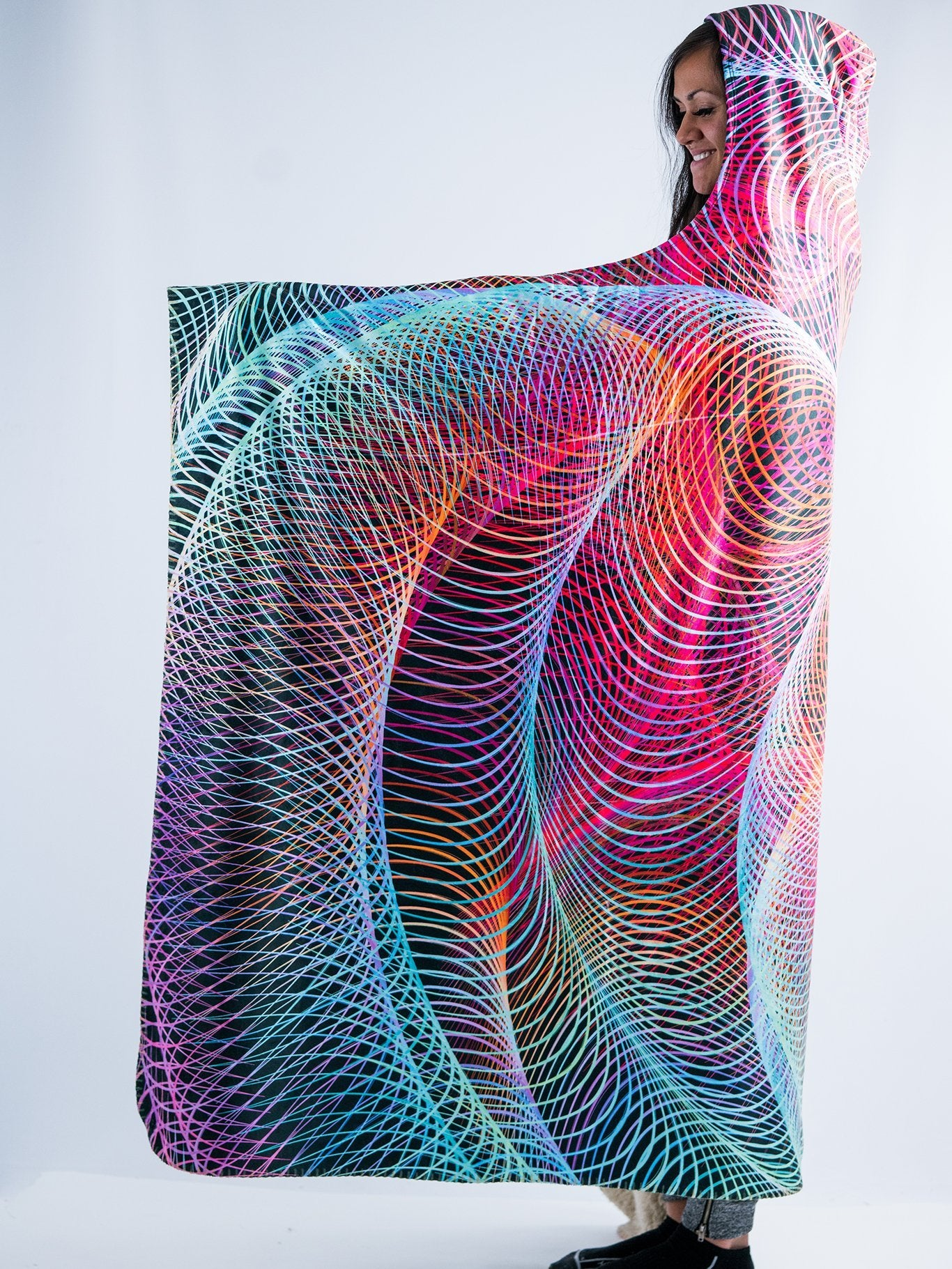 Hypnotic Vortex Hooded Blanket Hooded Blanket Electro Threads