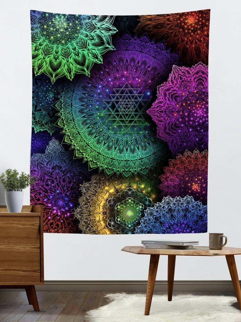 Illuminated Mandala Tapestry Tapestry Electro Threads