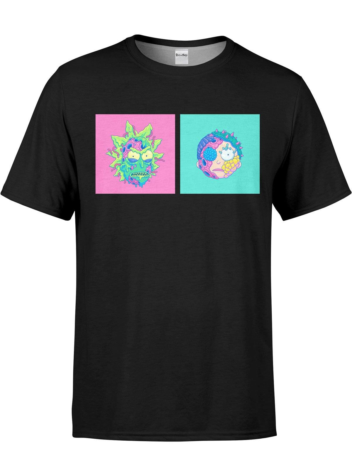 Infected Rick and Morty Unisex Crew T-Shirts Electro Threads XS Black