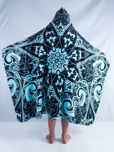 Kids Teal Mandala Hooded Blanket Hooded Blanket Electro Threads Kids 50X60 BLUE