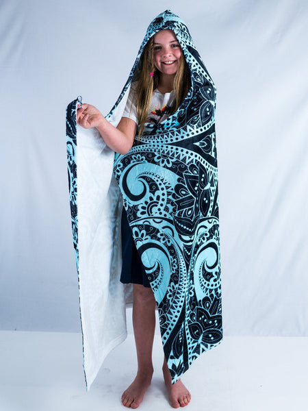 Kids Teal Mandala Hooded Blanket Hooded Blanket Electro Threads