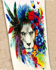 King of Lions Beach Throw Towel Electro Threads
