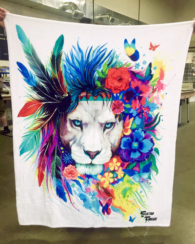 King of Lions Blanket Blanket Electro Threads THROW 50 X 60 Premium Sherpa