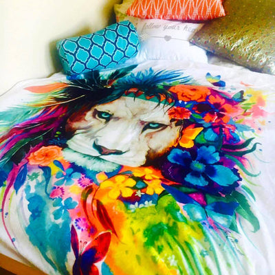 King of Lions Blanket Blanket Electro Threads TWIN 60 X 80 Micro Fleece