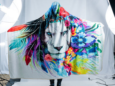 King Of Lions Hooded Blanket Hooded Blanket Electro Threads