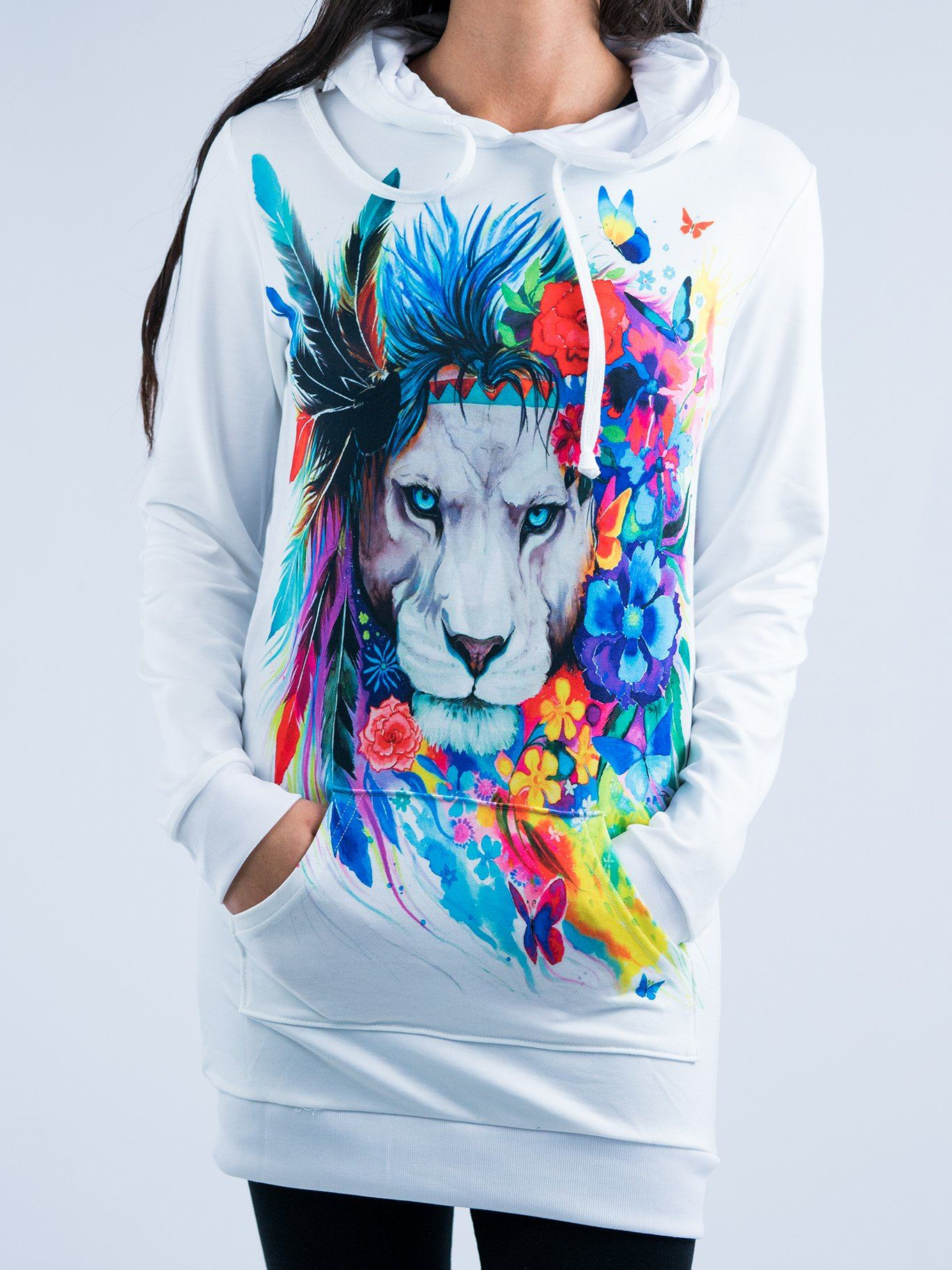 King of Lions Hooded Dress Hoodie Dress T6