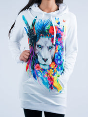 King of Lions Hooded Dress Hoodie Dress T6 XS White