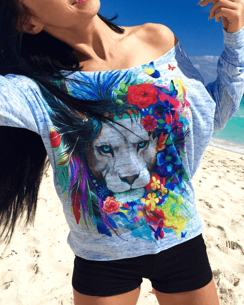 King of Lions Premium Flowy Off Shoulder Off Shoulder Electro Threads X-Small Blue Marble