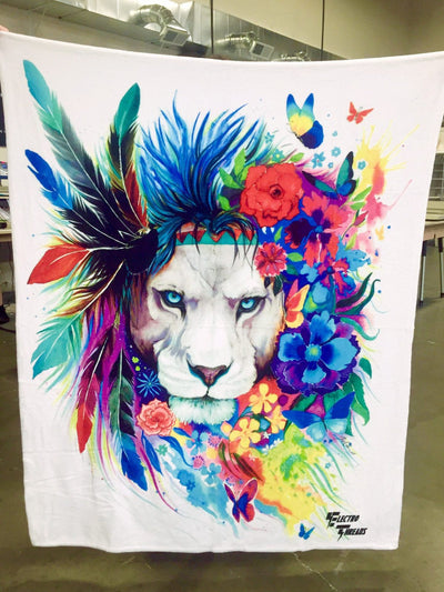 "King of Lions Premium Sherpa Blanket Blanket Electro Threads Standard 50"" x 60"""