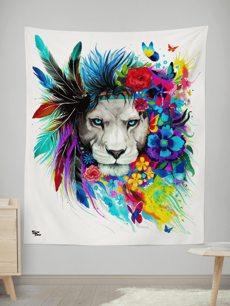 "King of Lions Tapestry Tapestry Electro Threads SMALL: 32"" x 42"""