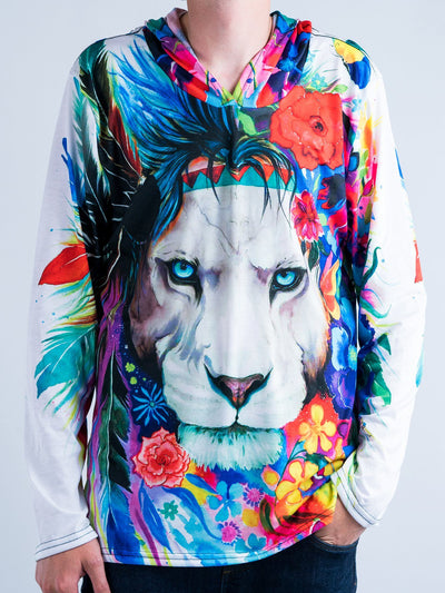 King of Lions Unisex Hooded Long Sleeve Shirt Long Sleeve T6
