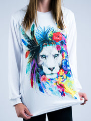 King of Lions Unisex Long Sleeve Shirt Long Sleeve Electro Threads