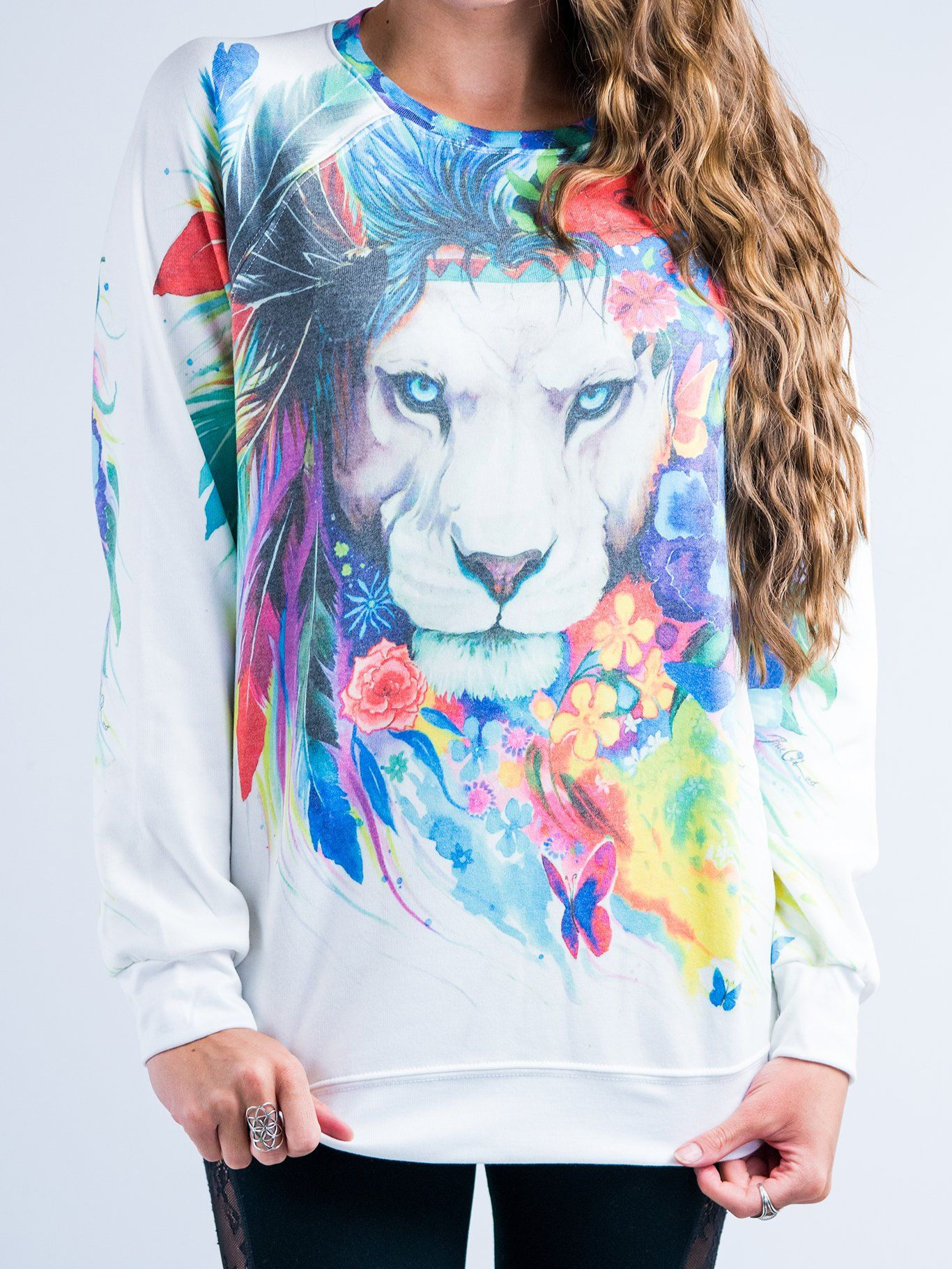 King Of Lions Vintage Sweatshirt Sweatshirt T6 XS WHITE