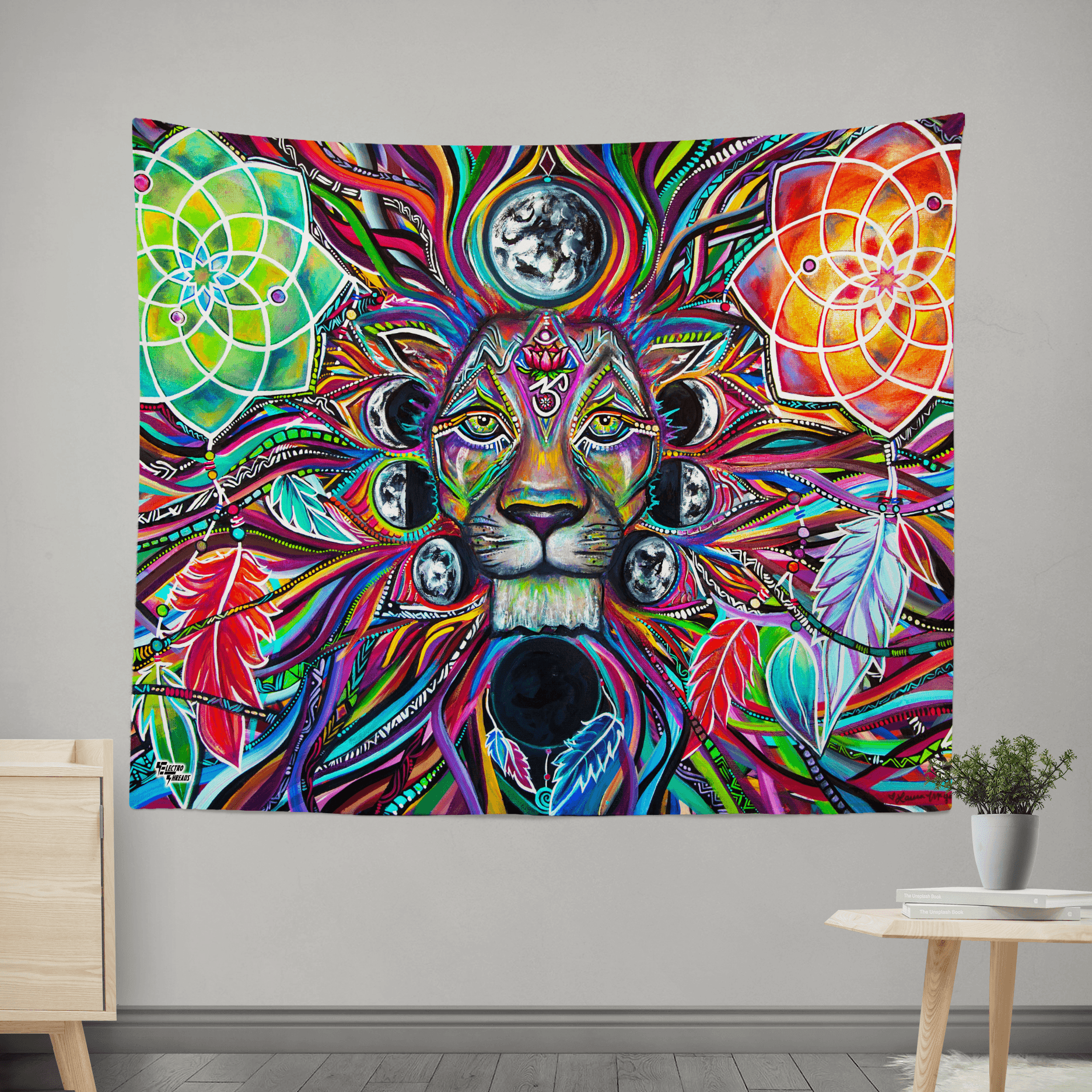 Lunar Lion Wall Tapestry Tapestry Electro Threads