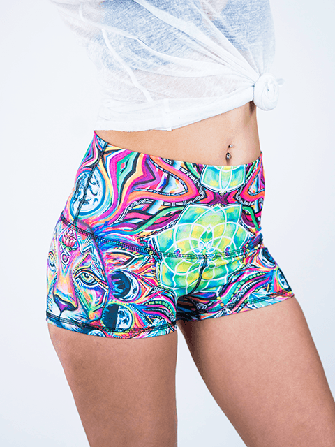 Lunar Lion Yoga Shorts Yoga Shorts T6 XS High Waist Green