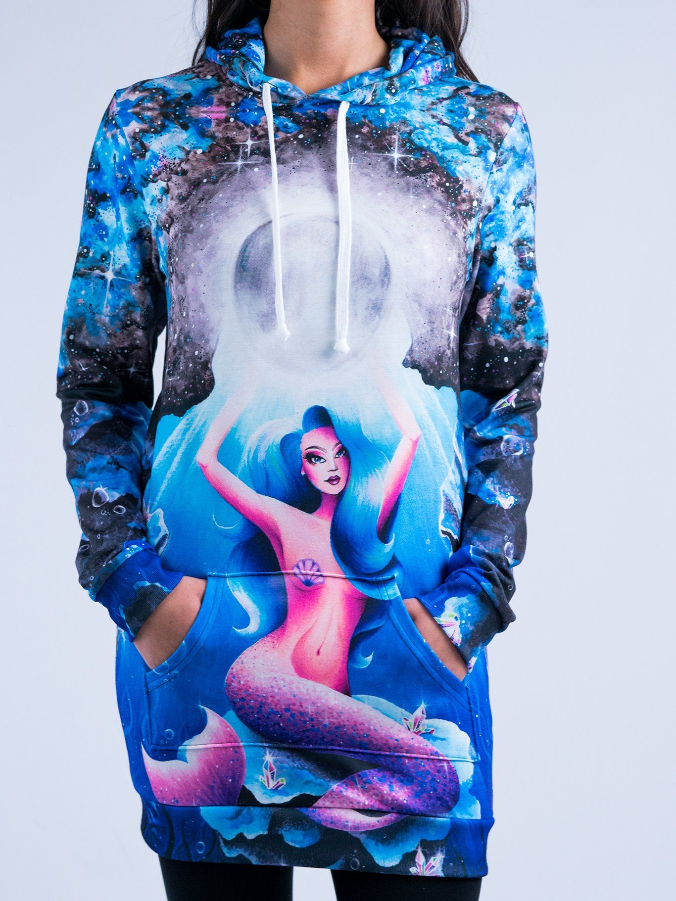 Lunar Mermaid Hooded Dress Hoodie Dress T6 XS Blue