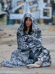 Mandala Bloom V2 Hooded Blanket Hooded Blanket Electro Threads