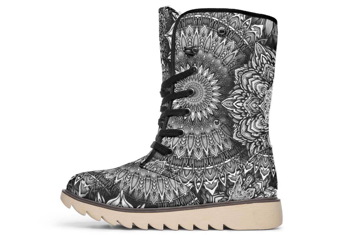 Mandala Bloom V2 Moon Boots YWF Women's Moon Boots Cream White Sole US 4.5 / EU35