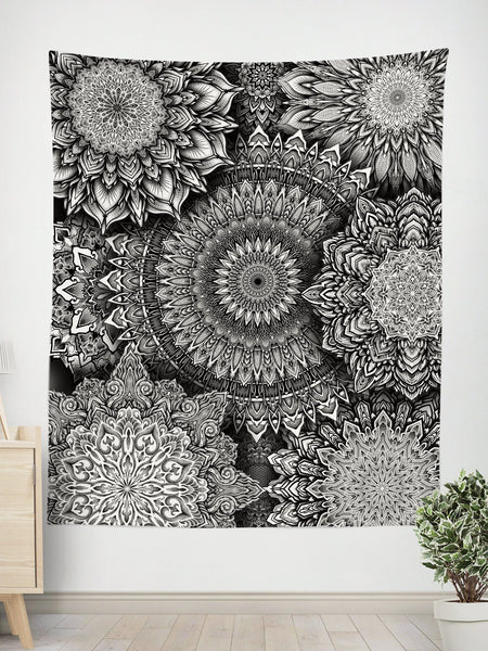 Mandala Bloom V2 Tapestry Tapestry Electro Threads