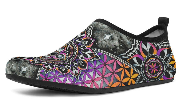 Mandala Magic Aquabarefootshoes YWF Women's Aqua Barefoot Shoes Black Sole US 3-4 / EU34-45