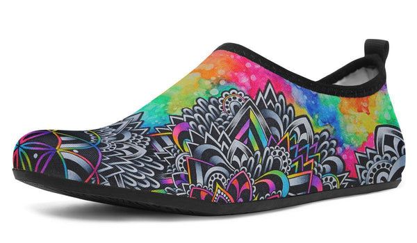 Mandala Vibes Aquabarefootshoes YWF Women's Aqua Barefoot Shoes Black Sole US 3-4 / EU34-45