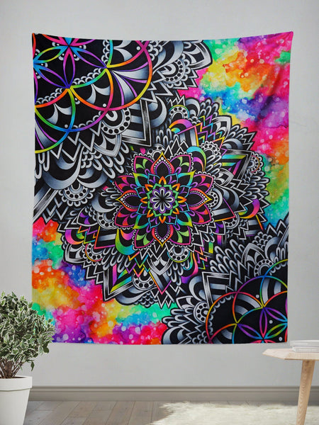 Mandala Vibez Wall Tapestry Tapestry Electro Threads