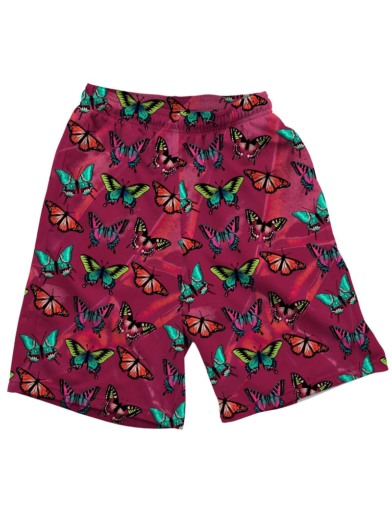 Maroon Butterfly Shorts Mens Shorts Electro Threads