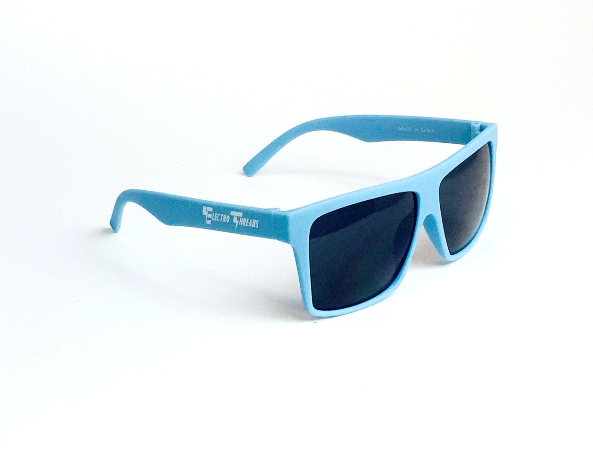 Matte Baby Blue – Smokey Lensed Sunglasses with Case Glasses Electro Threads