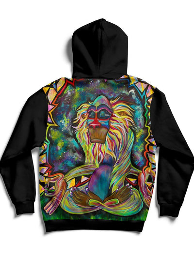 Meditating Rafiki Back Panel Unisex Hoodie Pullover Hoodies T6