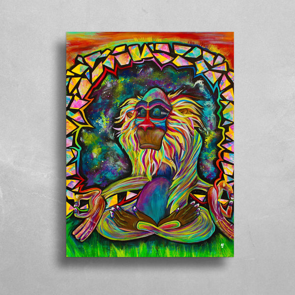 Meditating Rafiki HD Metal Panel Print Ready to Hang HD Metal Print Electro Threads