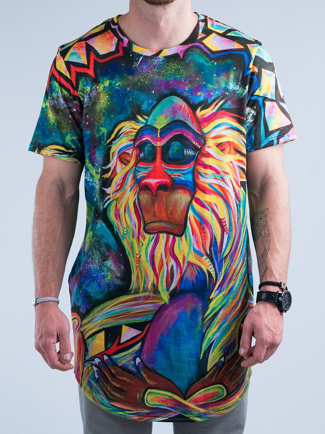 Meditating Rafiki Tall Tee Mens Tall Tee T6 XS BLUE
