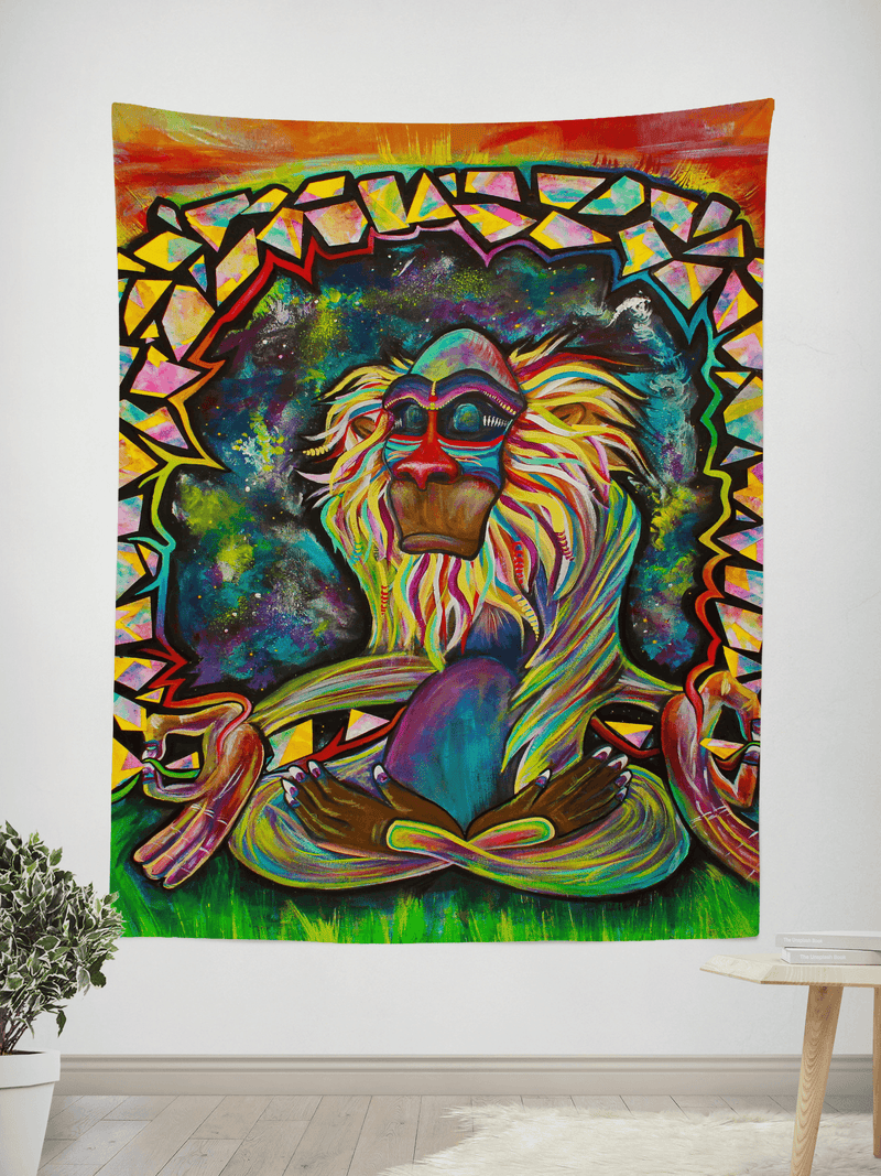 "Meditating Rafiki Tapestry Tapestry Electro Threads SMALL: 32"" x 42"""