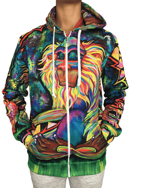 Meditating Rafiki Unisex Zip-Up Hoodie Pullover Hoodies T6