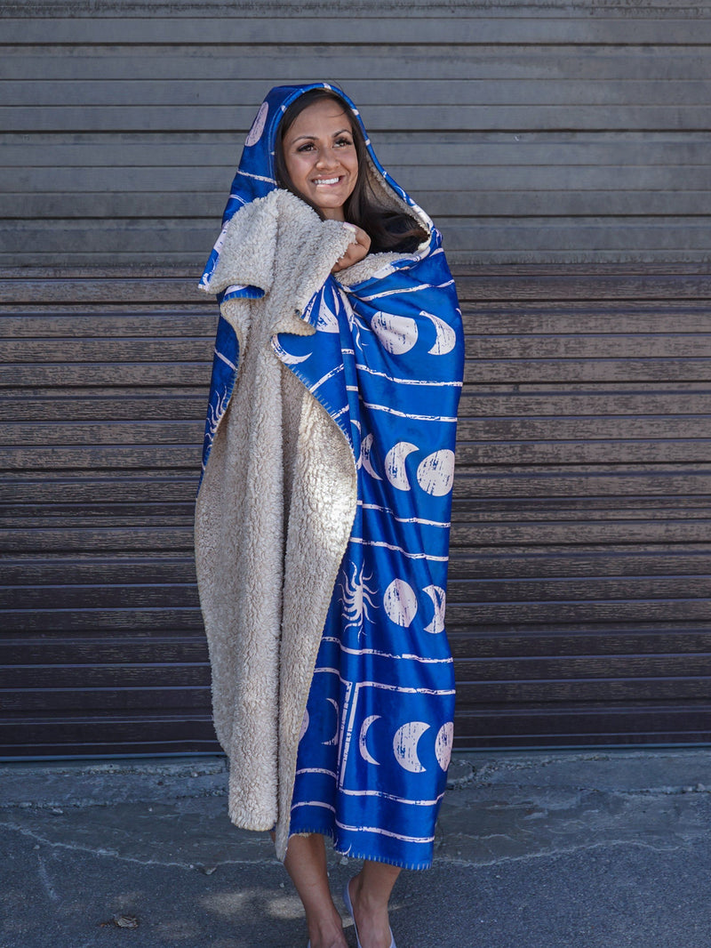 Moon Cycles Hooded Blanket Hooded Blanket Electro Threads