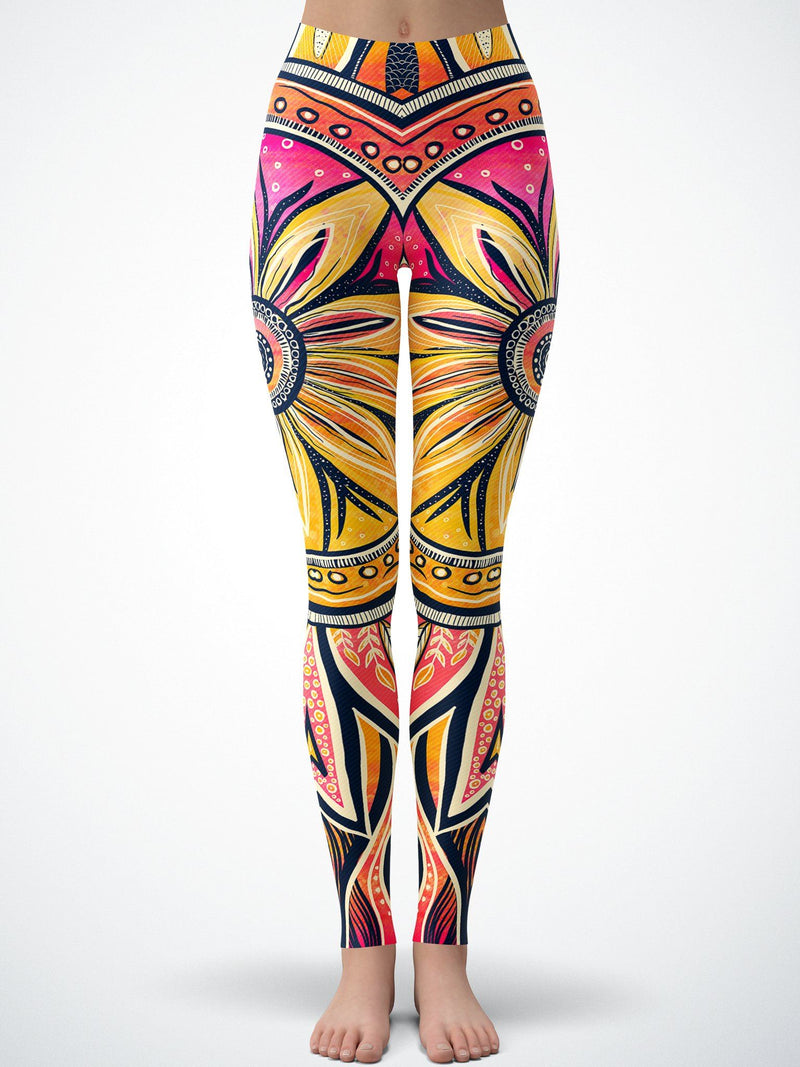 Moon/Sun-Ray Mandala Tights Tights Electro Threads 2XS Standard Moon-Ray