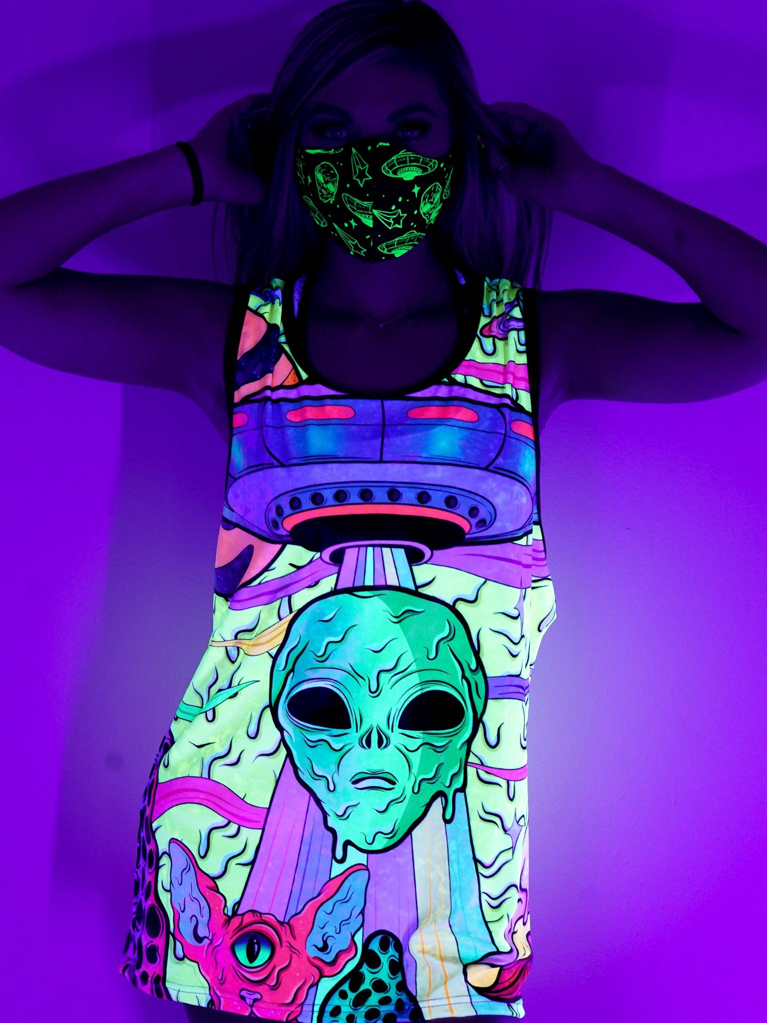 Neon Alien Drip Invasion (Yellow) Unisex Tank Top Tank Tops Electro Threads