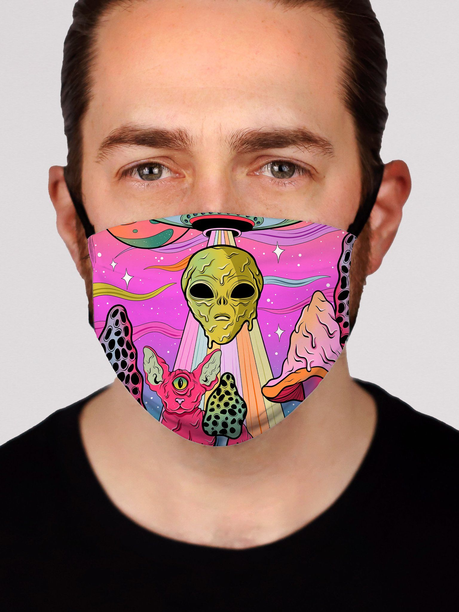 Neon Alien Invasion (Dawn) Face Mask Face Masks Electro Threads
