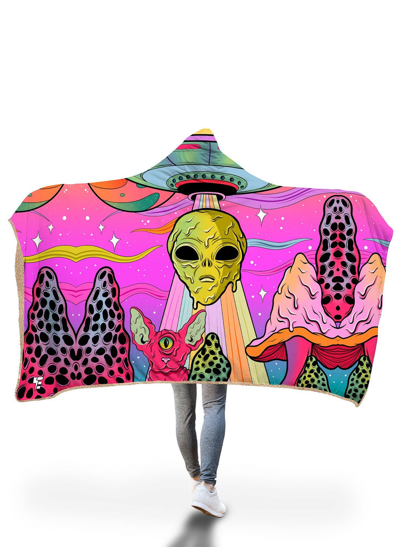 Neon Alien Invasion (Dawn) Hooded Blanket Hooded Blanket Electro Threads