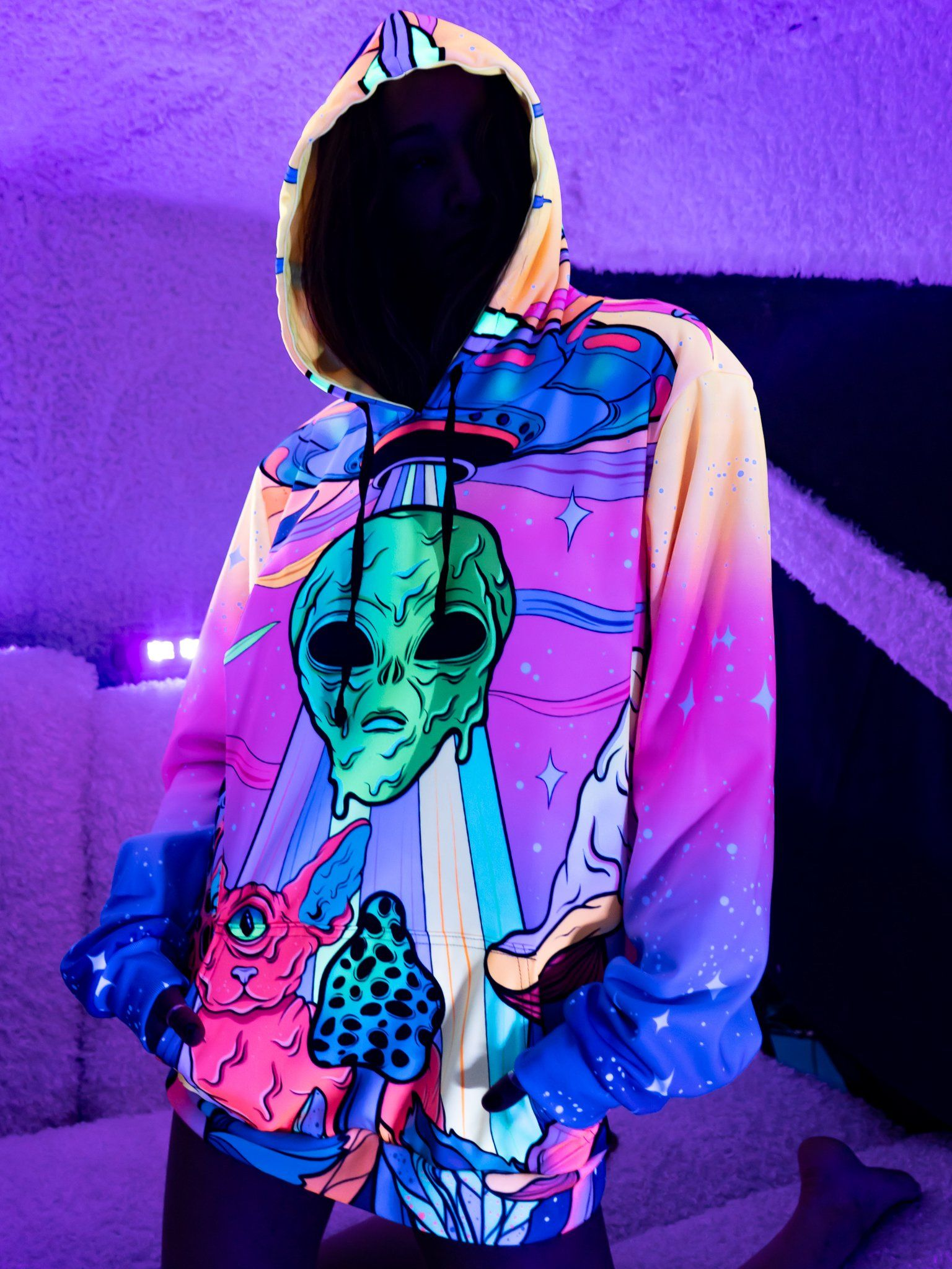 Neon Alien Invasion (Dawn) Unisex Hoodie Pullover Hoodies Electro Threads