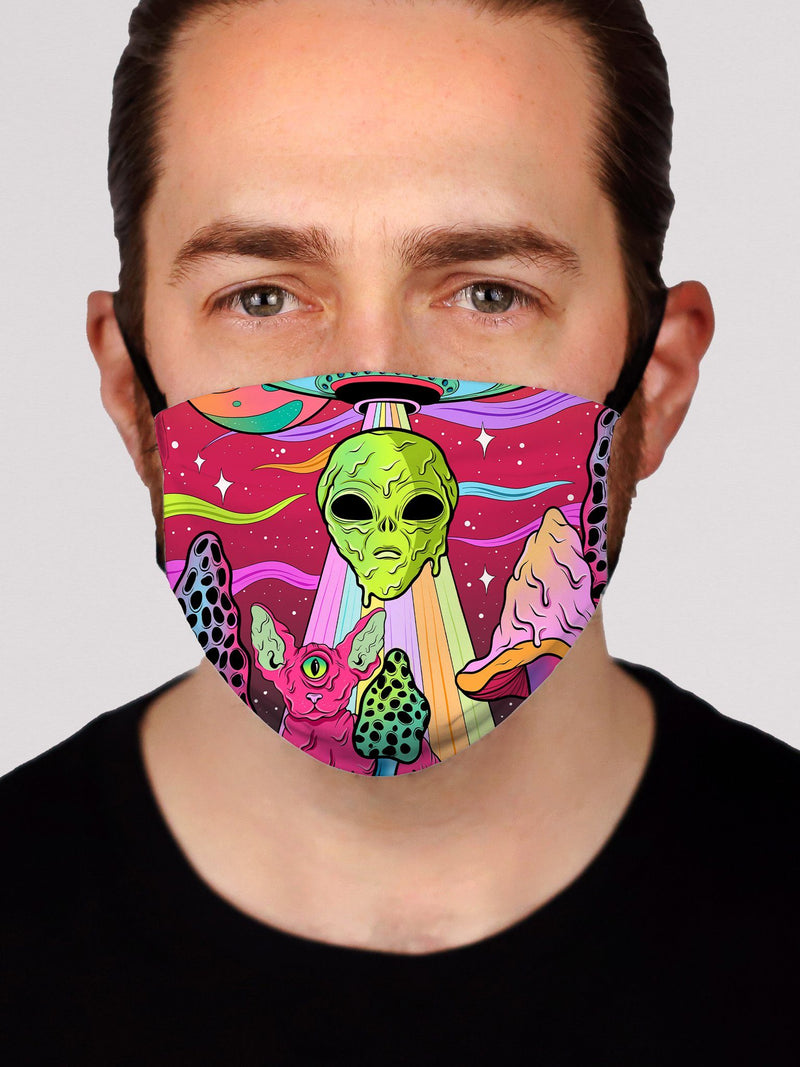 Neon Alien Invasion (Dusk) Face Mask Face Masks Electro Threads