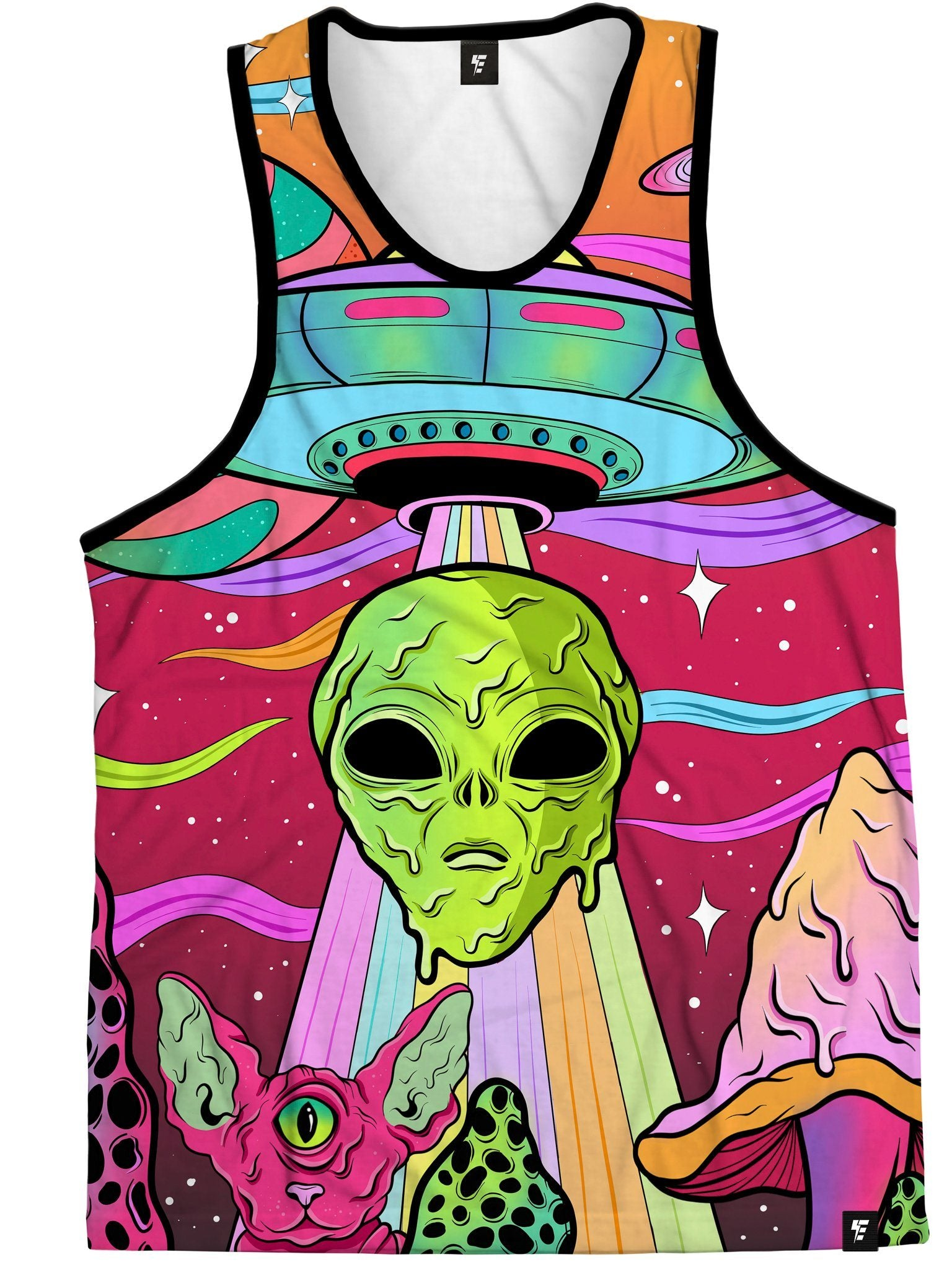 Neon Alien Invasion (Dusk) Unisex Tank Top Tank Tops Electro Threads