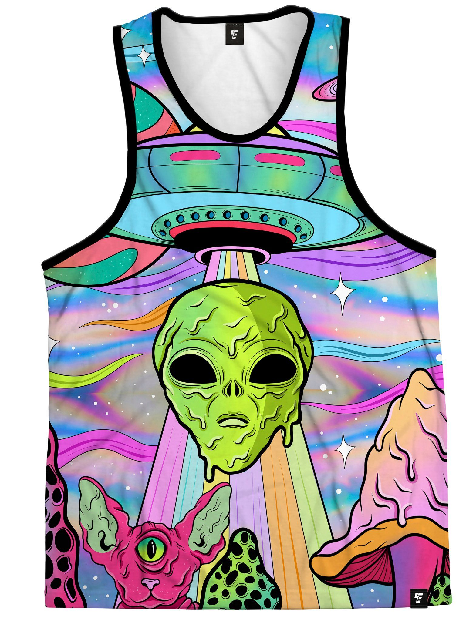 Neon Alien Invasion (Shimmer) Unisex Tank Top Tank Tops Electro Threads