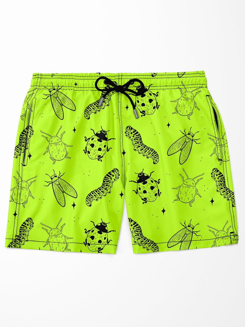 Neon Bugs Swim Trunks Mens Swim Trunks Electro Threads 28W Pink No Liner