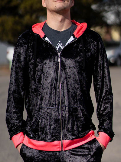 Neon Crushed Velvet Unisex Zip-Up Hoodie Pullover Hoodies Electro Threads