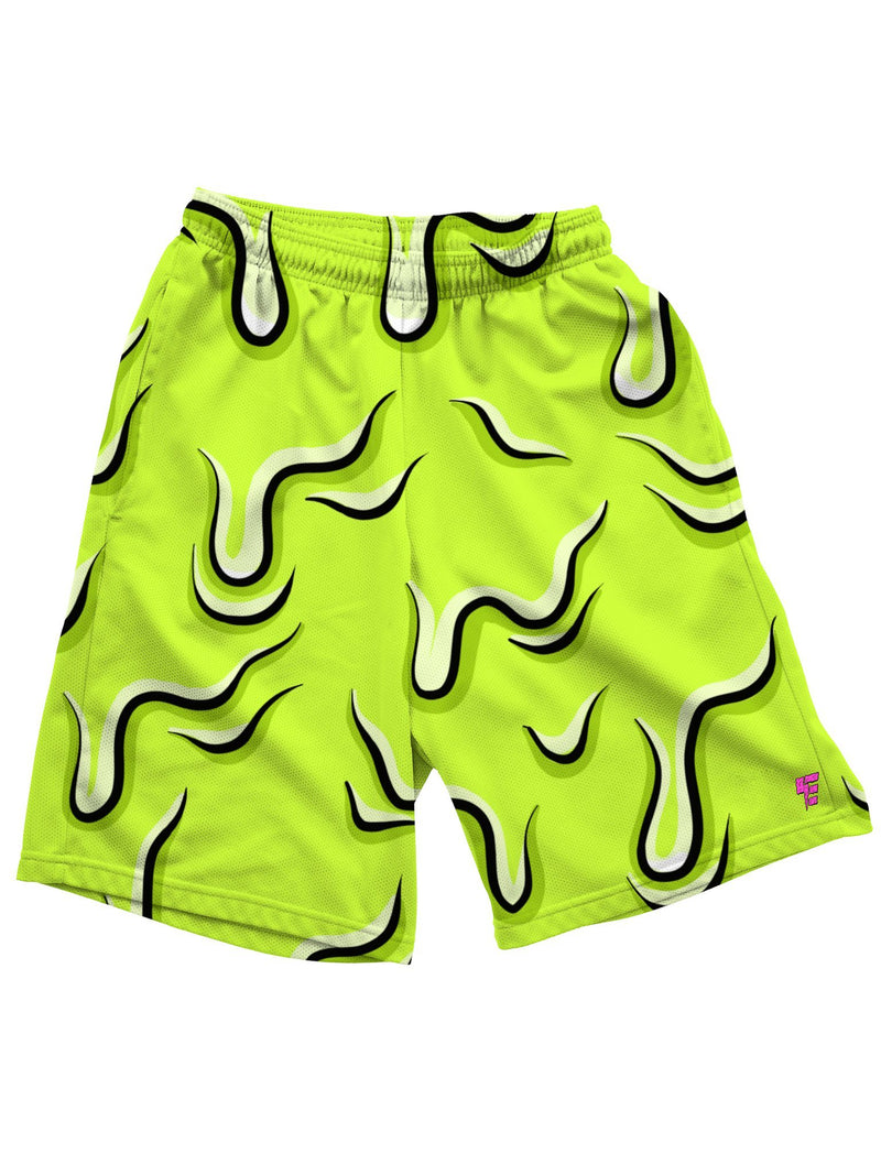 Neon Drippy (Green) Shorts Mens Shorts Electro Threads