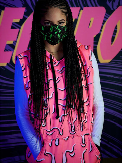 Neon Drippy (Pink) Unisex Sleevless Hoodie Sleeveless Hoodie Electro Threads