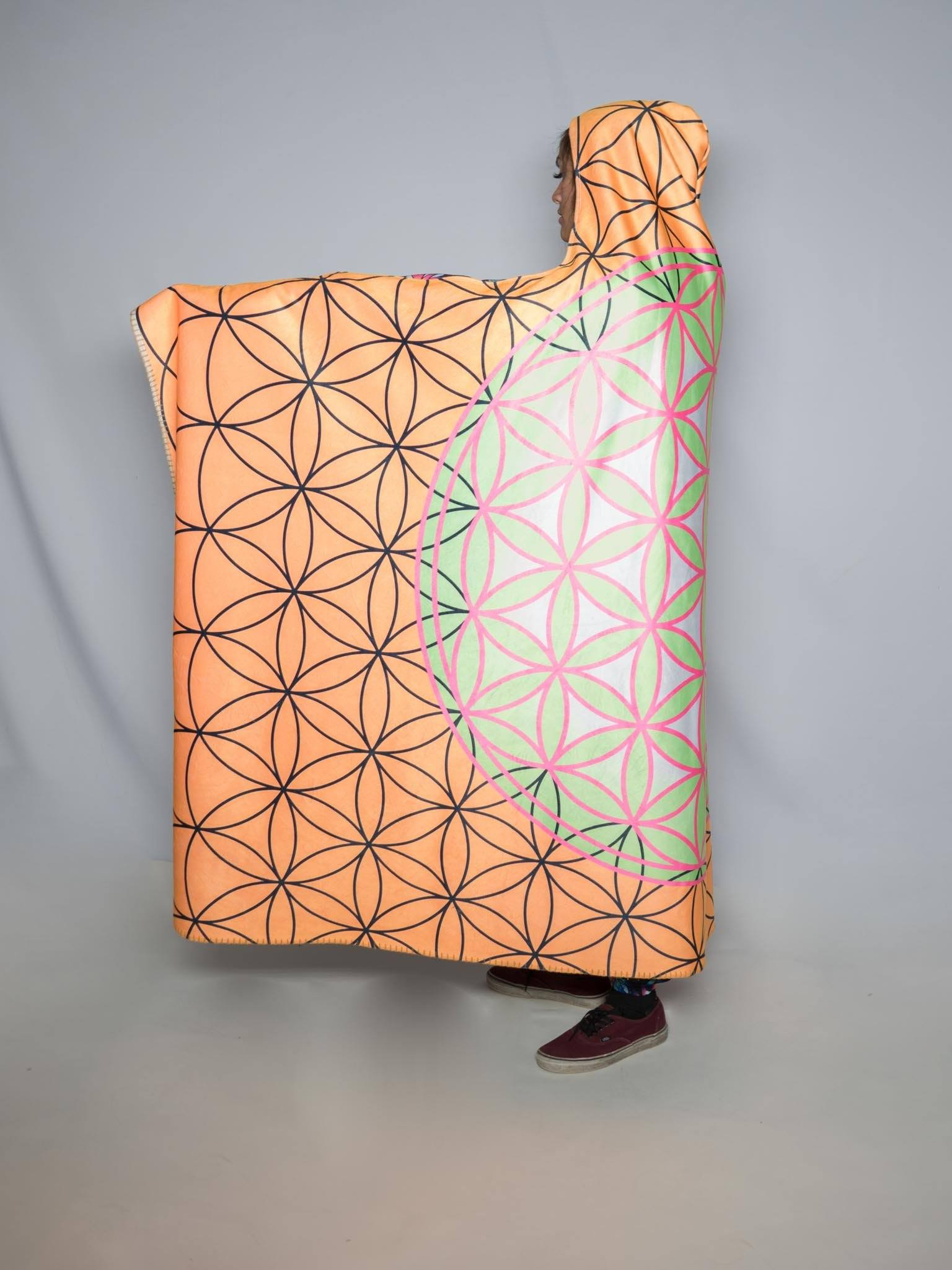 Neon Flower of Life Hooded Blanket Hooded Blanket Electro Threads